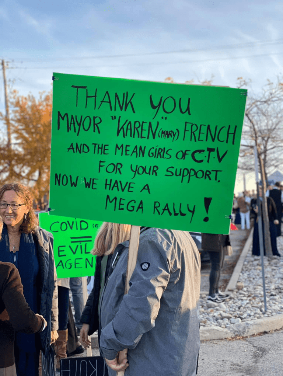 Aylmer State of Emergency Freedom Rally Mayor Mary French Karen sign Thanks for the mega rally