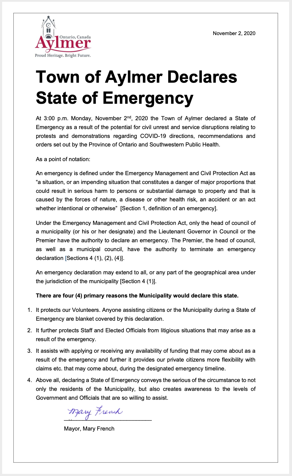 Aylmer State of Emergency Freedom Rally