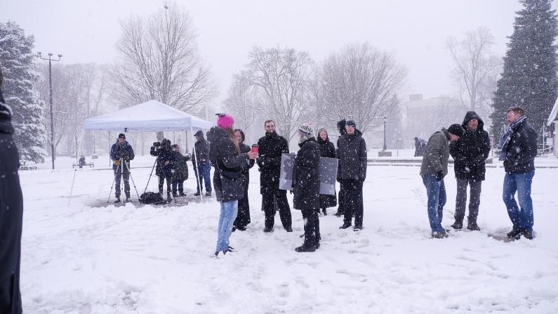 London Ontario Freedom Rally with Kristen Nagle Kimberly Neudorf snowy day