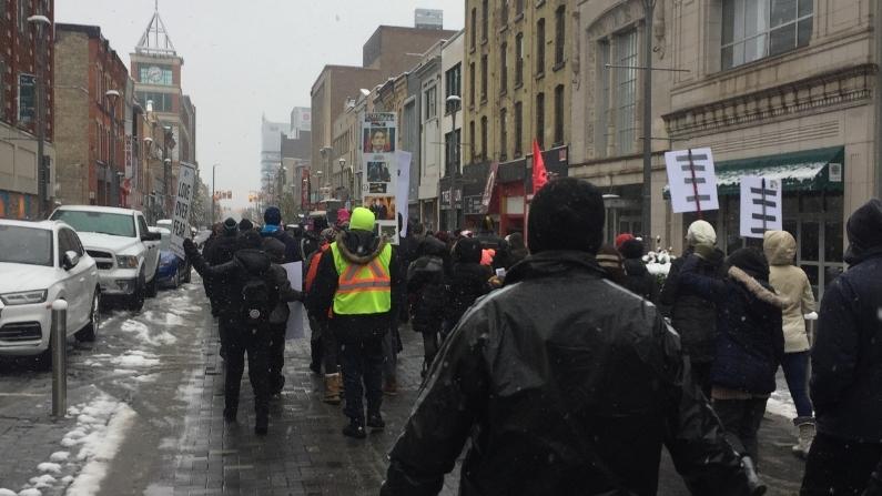 London Ontario Freedom Rally with Kristen Nagle Kimberly Neudorf walking in Street