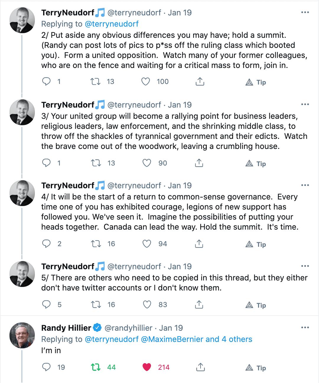 Terry Neudorf twitter Hold a Summit