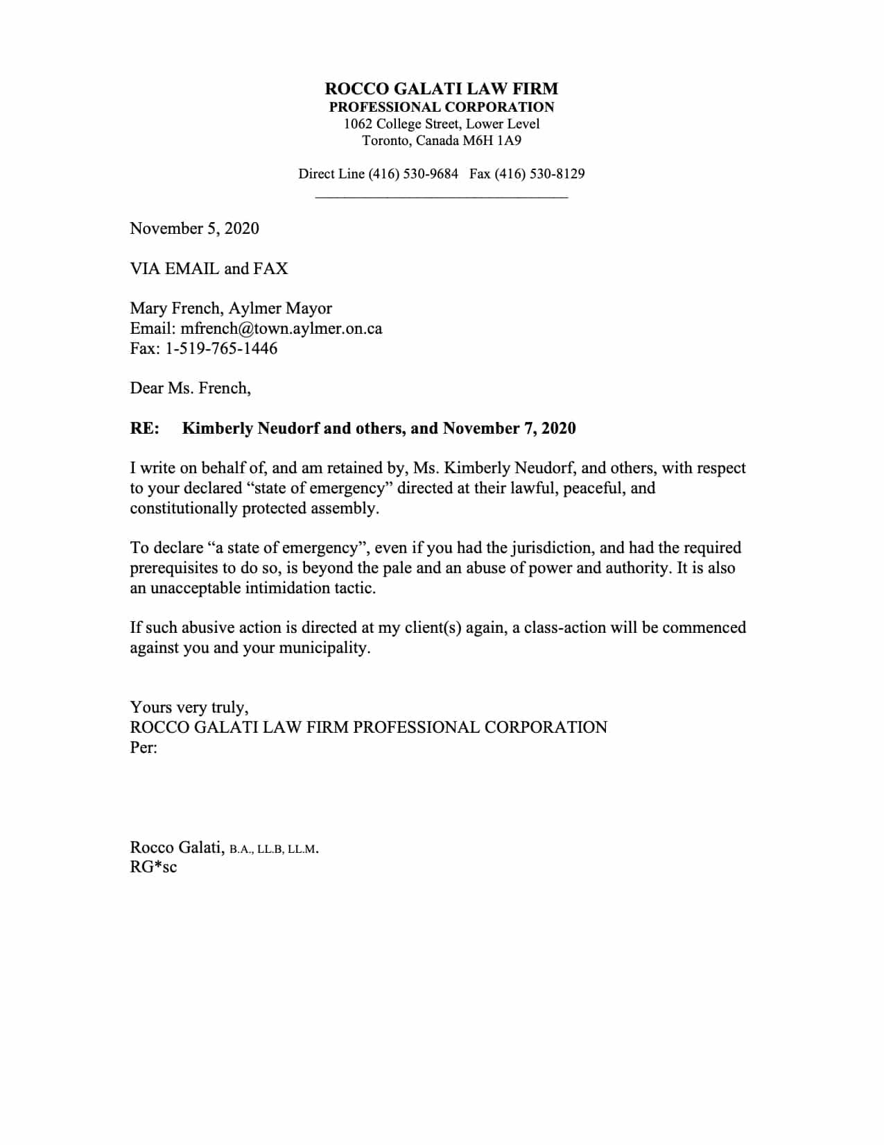 aylmer freedom rally letter to mayor kimberly neudorf