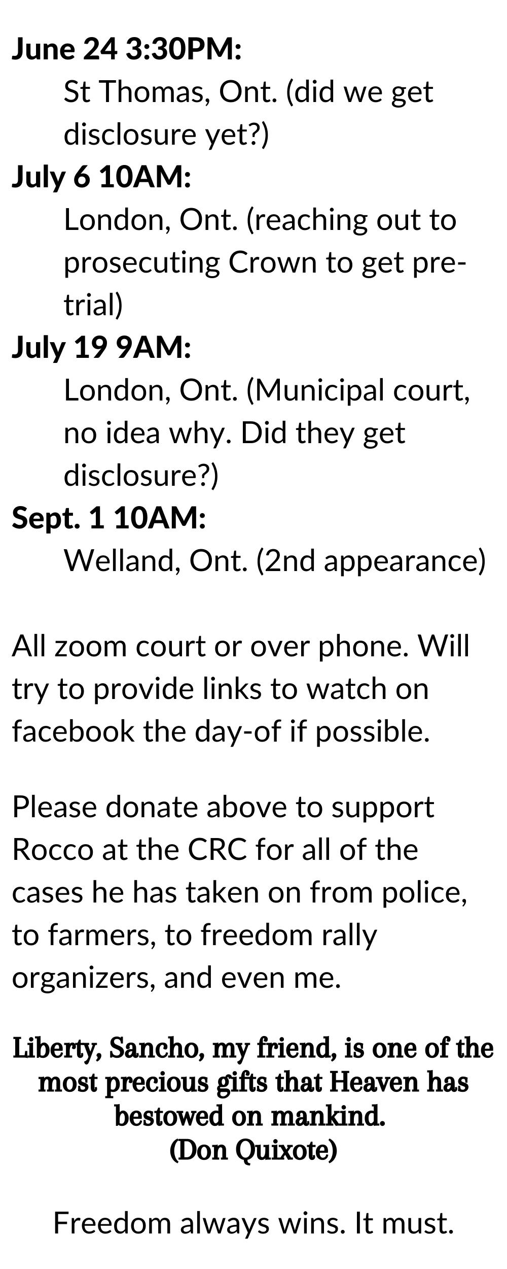june 16 court update list